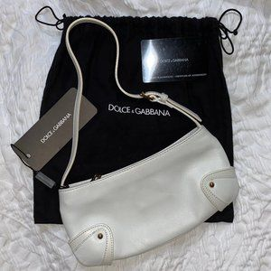 DOLCE & GABBANA white leather mini shoulder bag